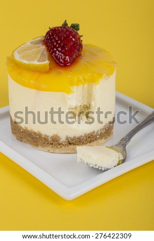 delicious cake with lemon and strawberry - stock photo