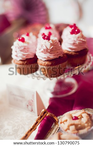 Delicious cakes with fresh berry - stock photo