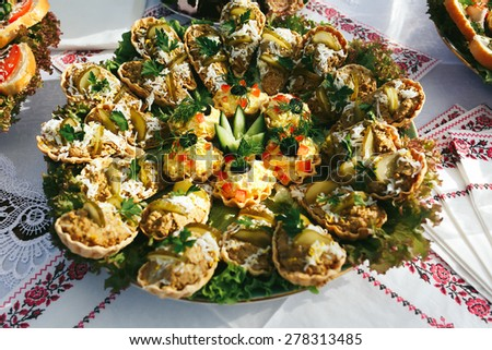 delicious canapes salad cakes on a background embroidery