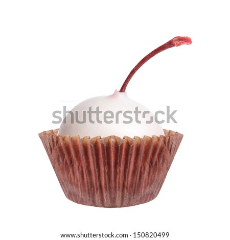 Delicious Candy. Cherry in white chocolate isolated on white background.  - stock photo