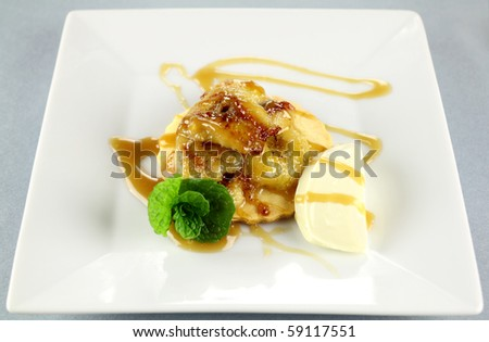 Delicious caramelized banana stack with a rich creamy caramel sauce ...