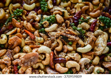 Delicious  cashew nuts, Thai food - stock photo