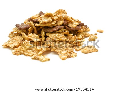 Delicious cereals isolated on white.