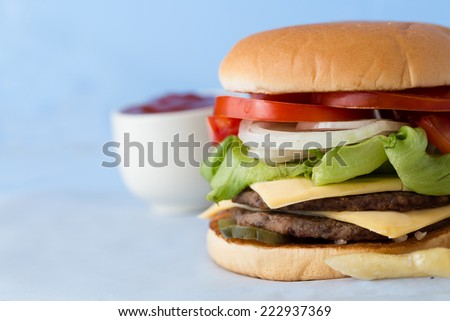 Delicious Cheese Burger with Milk and Tomato Sauce