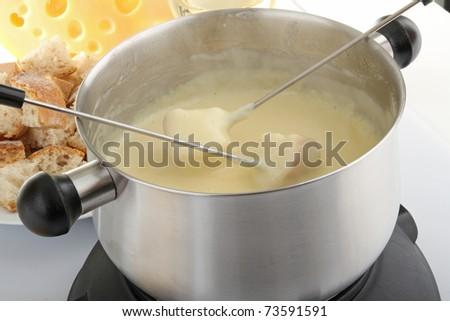 delicious cheese fondue - stock photo