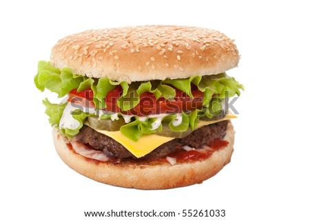 delicious cheeseburger isolated on white - stock photo