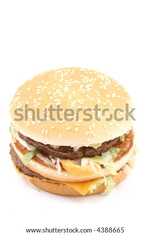 delicious cheeseburger isolated on white - unhealthy eating