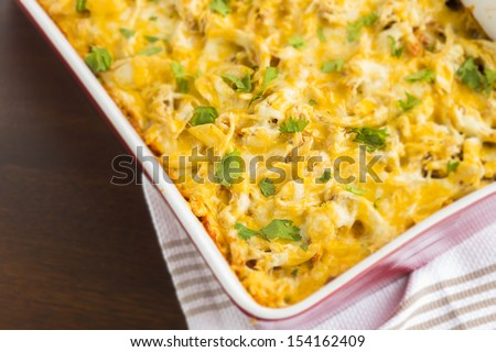 Delicious cheesy, spiced cornbread topped with enchilada sauce, shredded chicken, cheese and cilantro - stock photo