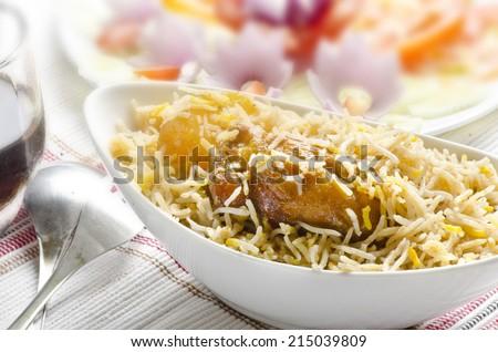 Delicious chicken biryani - stock photo