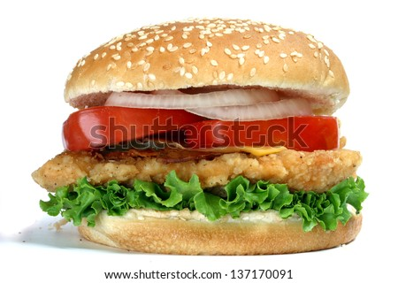 Delicious Chicken burger with tomato, onion and lettuce