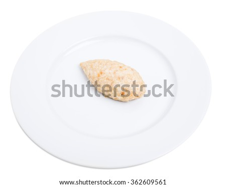 Delicious chicken cutlet with grated carrot. Isolated on a white background. - stock photo
