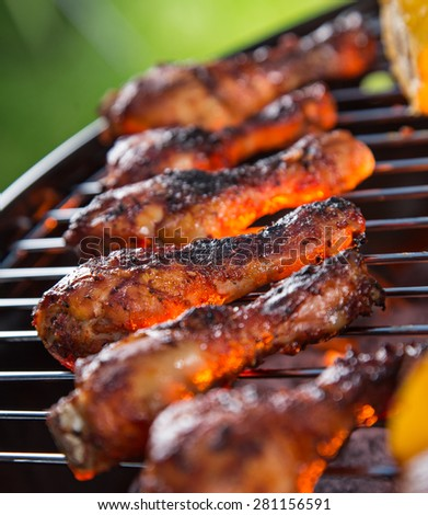 Delicious chicken legs on garden grill, barbecue time. - stock photo