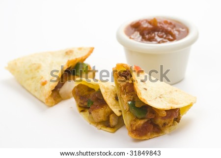 delicious chicken quesadilla and fresh vegetables isolated - stock photo