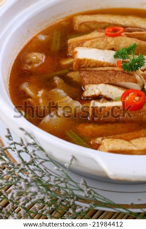 Delicious Chinese food-dry tofu in earthen pot