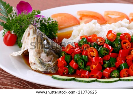 Delicious Chinese food fried dish - Steamed fish