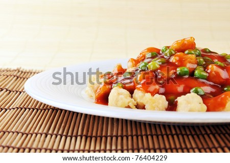 delicious chinese food on plate close up - stock photo