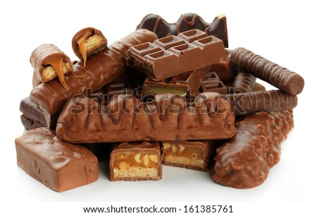 Delicious chocolate bars isolated on white - stock photo