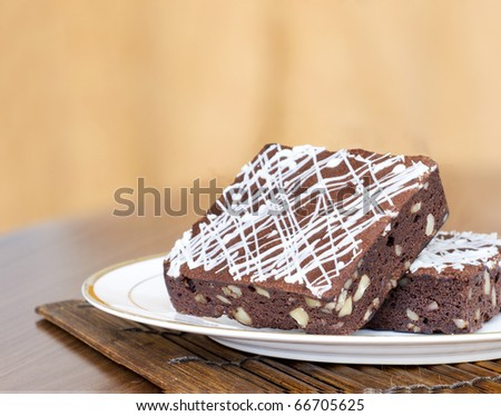 Delicious chocolate brownie - stock photo