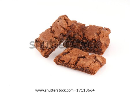 Delicious chocolate brownie cookies isolated on white. - stock photo