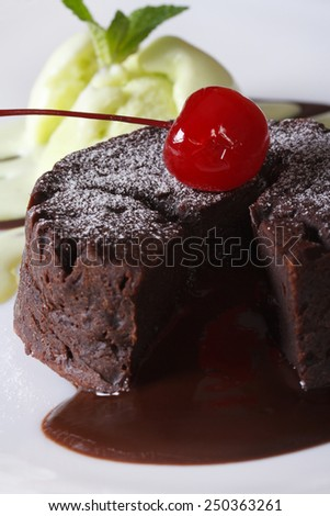 Delicious chocolate cake fondant with cherry closeup on a plate. Vertical
