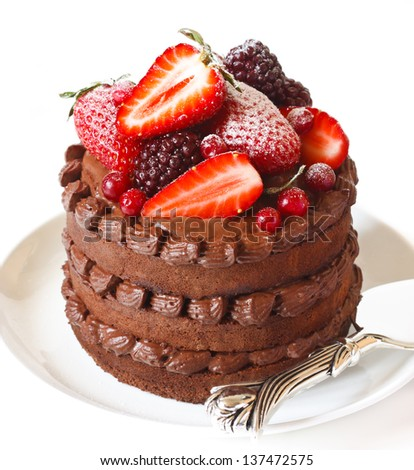 Delicious chocolate cake with cream and berries on a white background close up. - stock photo