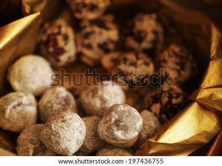 delicious chocolate candies in a box  - stock photo