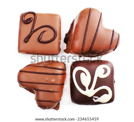Delicious chocolate candy isolated on white