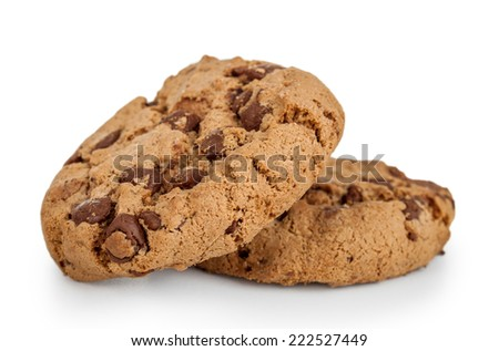 delicious chocolate chip cookies isolated white - stock photo