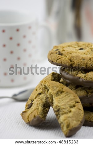 Delicious chocolate chip cookies with a chocolate bottom. - stock photo