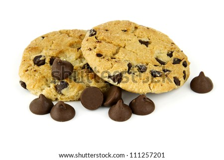Delicious chocolate chip cookies with scattered chocolate chips against white background with copy space. - stock photo