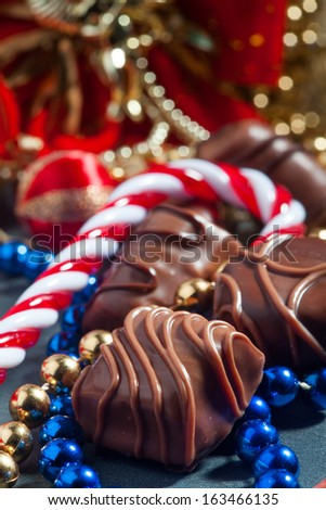 delicious chocolate, Christmas candy cane - stock photo