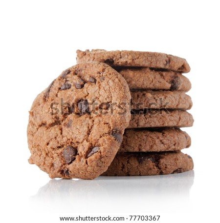 delicious chocolate cookies isolated on white background