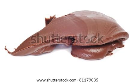 delicious chocolate cream on a white background - stock photo