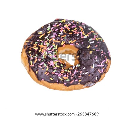 Delicious chocolate donut with sprinkles isolated on white background. - stock photo