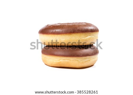 Delicious chocolate donuts on white background - stock photo