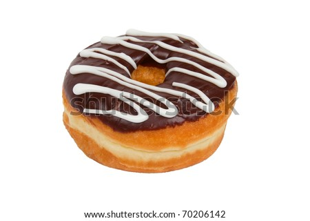 Delicious Chocolate Frosted Donut on a White Background - stock photo