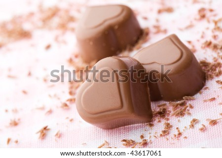Delicious chocolate hearts for valentines day - stock photo