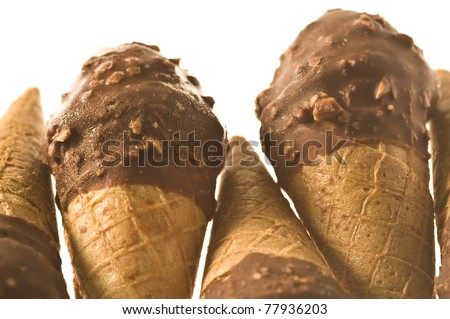 delicious chocolate ice cream isolated on a white background - stock photo