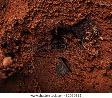 delicious chocolate ice cream texture, extreme closeup - stock photo