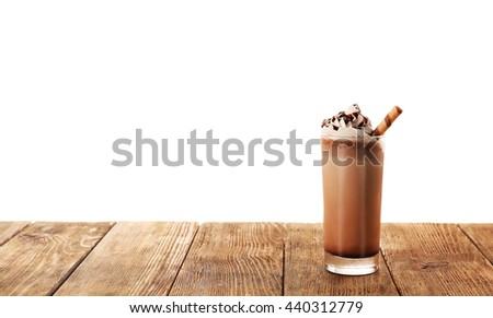 Delicious chocolate milkshake, isolated on white - stock photo