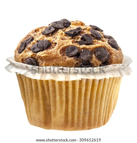 Delicious chocolate muffin cupcake isolated on white - stock photo