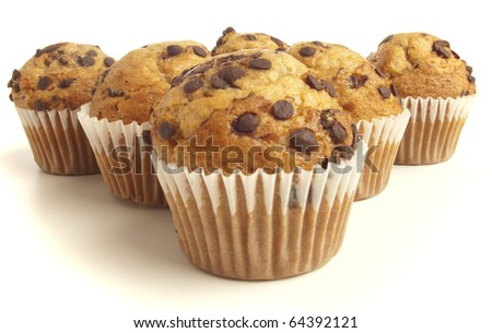 delicious chocolate muffin on a white background - stock photo