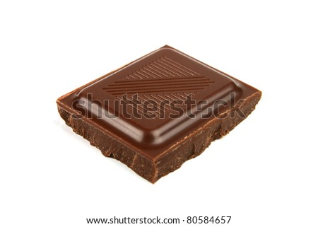 Delicious chocolate piece closeup isolated on white background