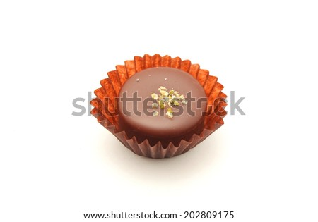 Delicious chocolate praline isolated on white background - stock photo