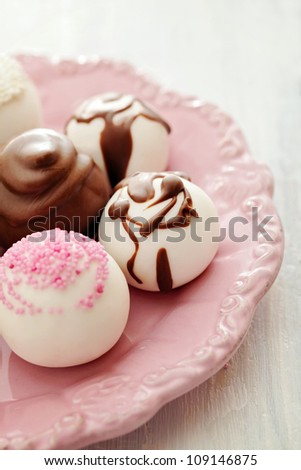 delicious chocolate pralines - stock photo