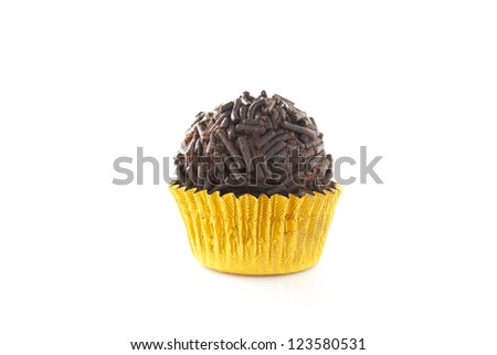 Delicious chocolate truffle isolated on white
