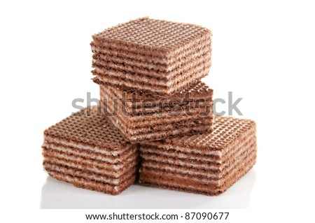 Delicious chocolate waffles isolated on white background