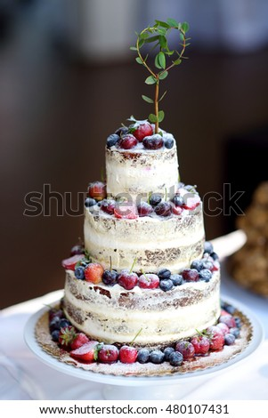 Delicious chocolate wedding cake decorated with fruits and berries
