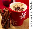 Delicious christmas coffee with cinnamon - stock photo