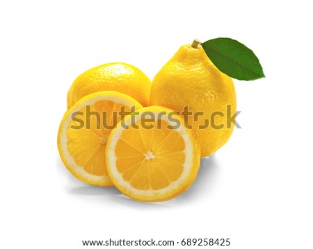 Delicious citrus fruit on white background